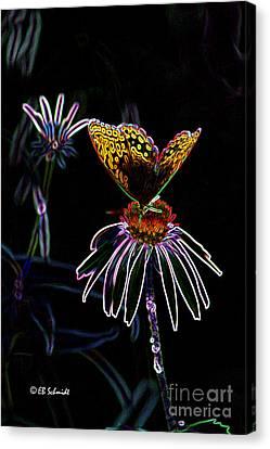 Canvas Print featuring the digital art Butterfly Garden 03 - Great Spangled Fritillary by E B Schmidt