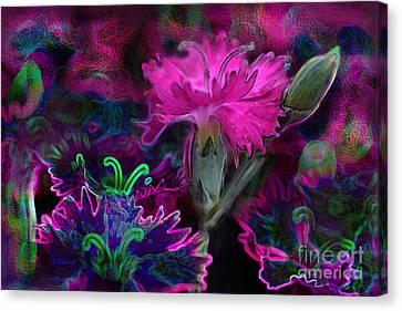 Canvas Print featuring the digital art Butterfly Garden 08 - Carnations by E B Schmidt