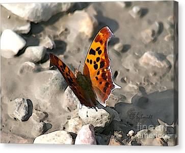 Canvas Print featuring the digital art Butterfly Garden 09 - Eastern Comma by E B Schmidt