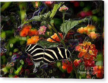 Canvas Print featuring the digital art Butterfly Garden 14 - Zebra Heliconian by E B Schmidt