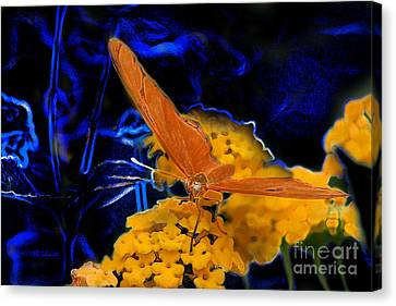 Canvas Print featuring the digital art Butterfly Garden 22 - Julia Heliconian by E B Schmidt