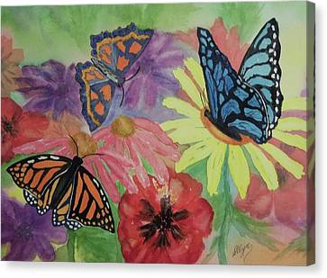 Canvas Print featuring the painting Butterfly Garden by Ellen Levinson