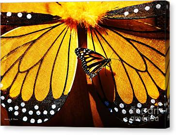 Butterfly Hitching A Ride 2 Canvas Print by Nancy E Stein
