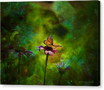 Canvas Print featuring the digital art Butterfly In An Ethereal World by J Larry Walker