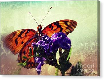 Butterfly Kissed Canvas Print by Darla Wood