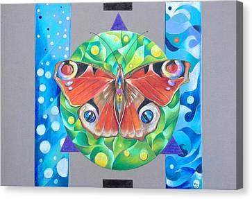 Butterfly Mandala Canvas Print by Bea Israel