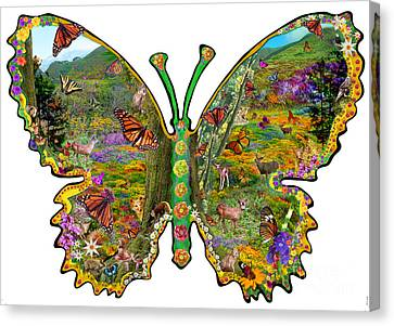 Butterfly Meadow Green Canvas Print by Alixandra Mullins