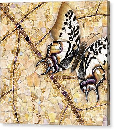 Nature Canvas Print - Butterfly Mosaic 01 Elena Yakubovich by Elena Yakubovich