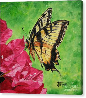 Canvas Print featuring the painting Butterfly On Bougainvillea by Jimmie Bartlett