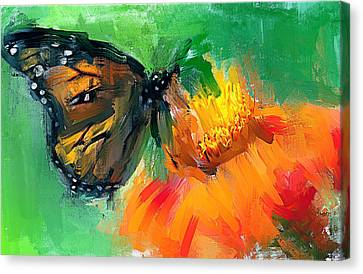 Butterfly On Flower Canvas Print by Yury Malkov