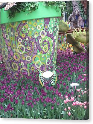 Canvas Print featuring the photograph Butterfly Park Garden Painted Green Theme by Navin Joshi