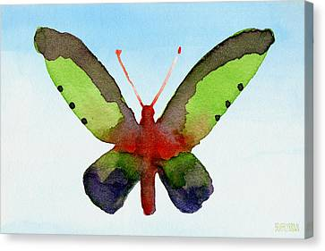Butterfly Purple And Green Watercolor Art Print Canvas Print by Beverly Brown