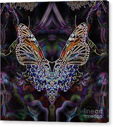 Canvas Print featuring the digital art Butterfly Reflections 01 - Monarch by E B Schmidt