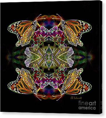 Canvas Print featuring the digital art Butterfly Reflections 02 - Monarch by E B Schmidt