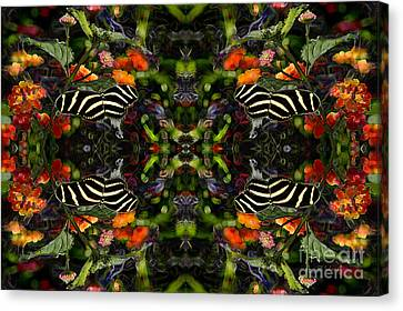 Canvas Print featuring the digital art Butterfly Reflections 03 - Zebra Heliconian by E B Schmidt