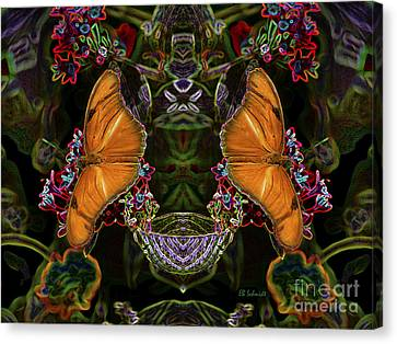 Canvas Print featuring the digital art Butterfly Reflections 04 - Julia Heliconian by E B Schmidt