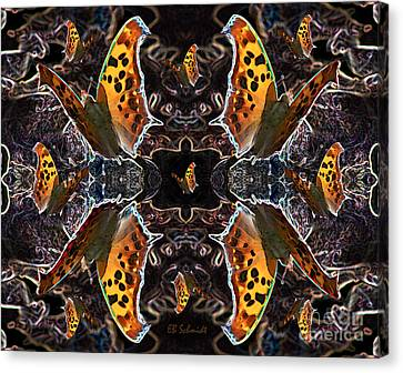 Canvas Print featuring the digital art Butterfly Reflections 05 - Eastern Comma by E B Schmidt