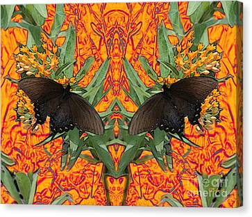 Canvas Print featuring the digital art Butterfly Reflections 06 - Spicebush Swallowtail by E B Schmidt