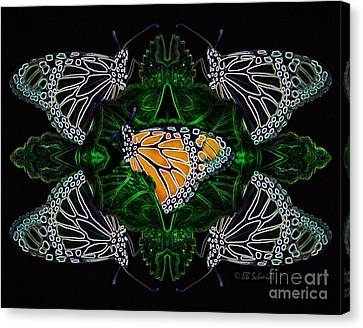 Canvas Print featuring the digital art Butterfly Reflections 07 - Monarch by E B Schmidt