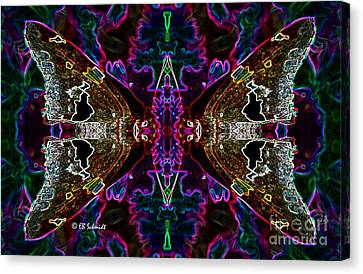 Canvas Print featuring the digital art Butterfly Reflections 08 - Silver Spotted Skipper Reflections by E B Schmidt