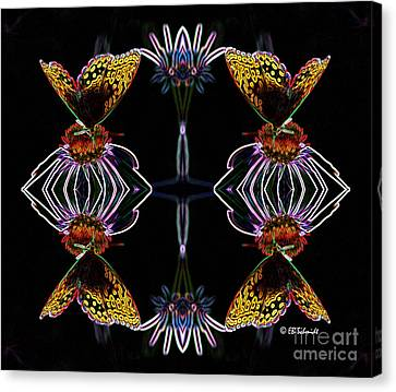 Canvas Print featuring the digital art Butterfly Reflections 10  - Great Spangled Fritillary by E B Schmidt