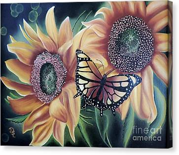 Canvas Print featuring the painting Butterfly Series 5 by Dianna Lewis