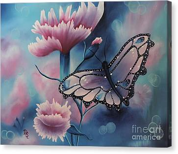 Canvas Print featuring the painting Butterfly Series 6 by Dianna Lewis
