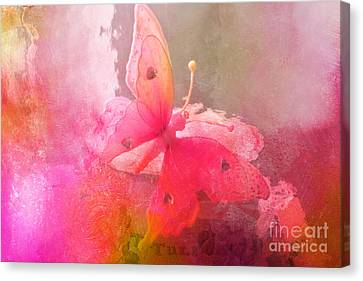 Butterfly Surreal Fantasy Painterly Impressionistic Pink Abstract Butterfly Fine Art  Canvas Print by Kathy Fornal