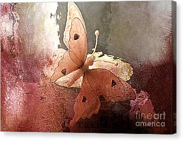 Surreal Digital Image Canvas Print - Butterfly Surreal Fantasy Painterly Impressionistic Sepia Abstract Butterfly  by Kathy Fornal