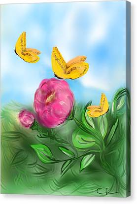 Canvas Print featuring the digital art Butterfly Triplets by Christine Fournier