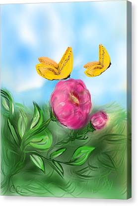 Canvas Print featuring the digital art Butterfly Twins by Christine Fournier