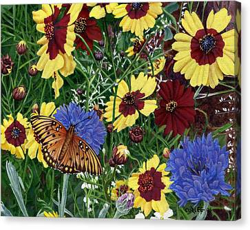Butterfly Wildflowers Garden Oil Painting Floral Green Blue Orange-2 Canvas Print by Walt Curlee