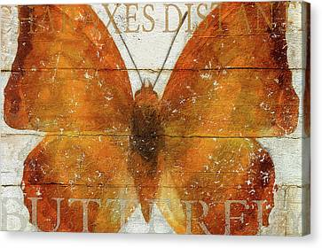 Butterfly Wood Series Iv Canvas Print by Cora Niele