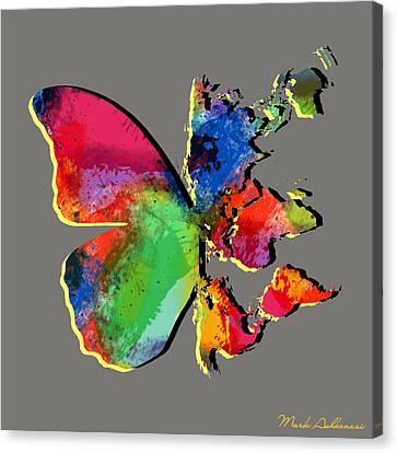 Butterfly World Map 2 Canvas Print by Mark Ashkenazi