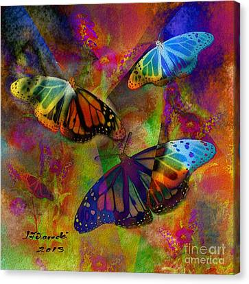 Buttrerfly Collage All About Butterflies Canvas Print by Judy Filarecki