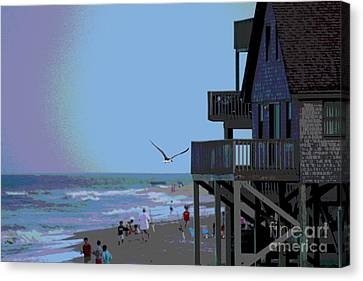 Buxton Beach And People Canvas Print by Cathy Lindsey
