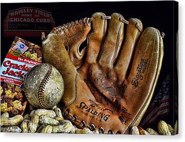 Baseball Gloves Canvas Print - Buy Me Some Peanuts And Cracker Jacks by Ken Smith