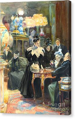 Buying Christmas Presents 1895 Canvas Print by Padre Art
