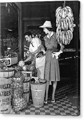Grocery Store Canvas Print - Buying Fruit And Vegetables by Underwood Archives