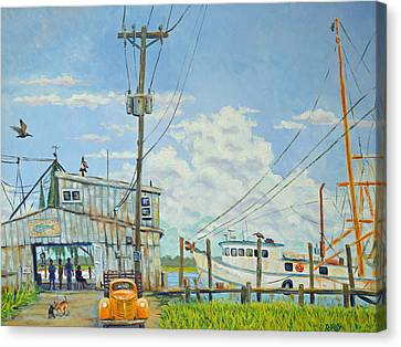 Canvas Print featuring the painting Buying Shrimp In Rockville by Dwain Ray