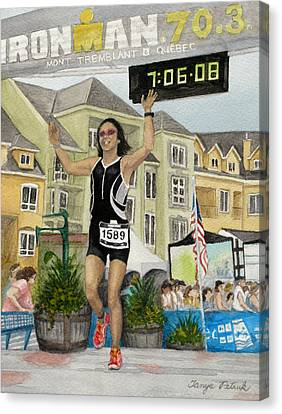 B.w. Finishes Ironman 70.3 Tremblant Canvas Print by Tanya Petruk