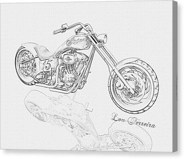 Bw Gator Motorcycle Canvas Print by Louis Ferreira