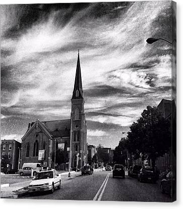 Canvas Print featuring the photograph Bw Hanover Street by Toni Martsoukos