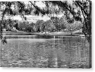 Bw Lake Views  Canvas Print by Chuck Kuhn