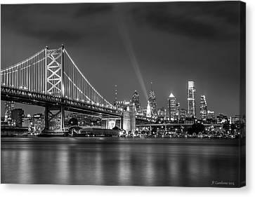 Phillies Art Canvas Print - Bw Lit Up Philadelphia by Jason Gambone