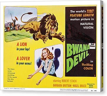 1950s Movies Canvas Print - Bwana Devil, Us Lobbycard, Barbara by Everett