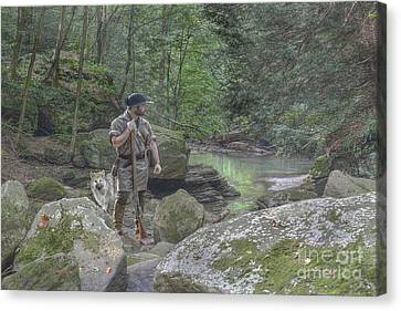 Colonial Man Canvas Print - By His Side by Randy Steele
