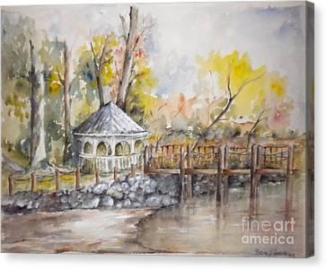 Gazebo At Lake Wylie Canvas Print