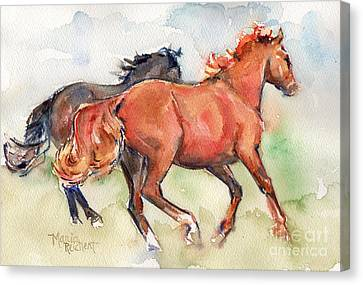 Bay Horse Canvas Print - Horse Horses Running By My Side by Maria's Watercolor