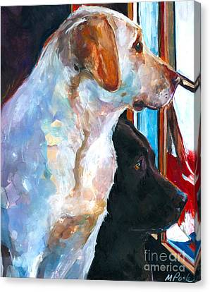 Labradors Canvas Print - By My Side by Molly Poole